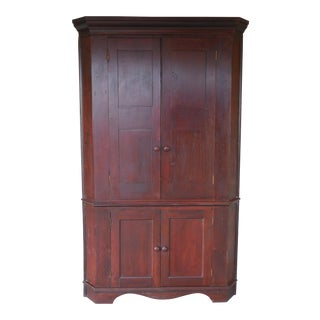 "Antique 19th Century Cherry 1 piece Blind Door Corner Cabinet 85""H x 50""W"