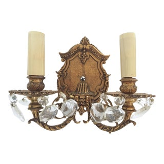 Vintage Brass & Crystal Wall Sconce