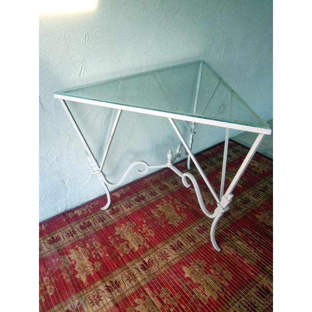 Iron Glass Salterini Corner Patio Table Chairish