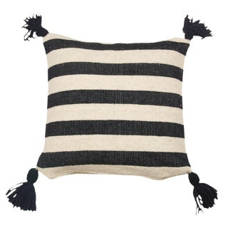 Mexican Black & White Wool Throw Pillow