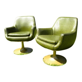 Vintage Mid-Century Modern Swivel Bucket Accent Chairs - A Pair
