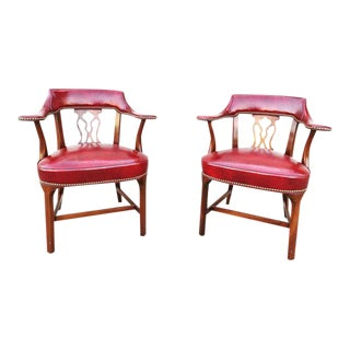 Vintage Hickory Chair Company Leather Library Chairs - A Pair