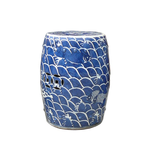 Blue And White Porcelain Round Fishes Stool Table - Image 3 of 6