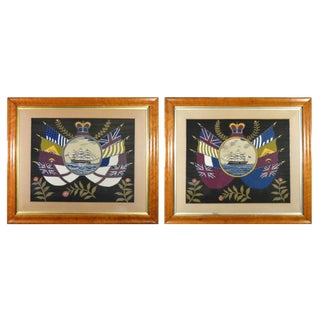 British Sailor's Woolwork Pair of Pictures or Woolies with Ship and Flags