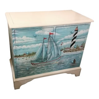 Painted Sailboat Motif Chest of Drawers