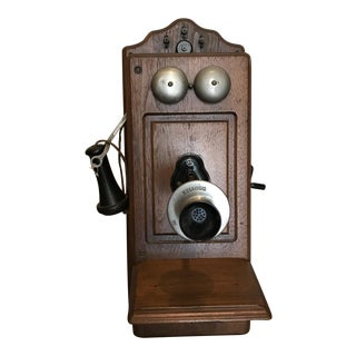 Antique Kellogg Oak Wall Mount Hand Crank Telephone