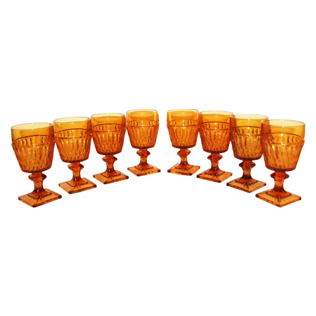 Image of Vintage Mt Vernon Honeycomb Amber Wine Glasses - 8