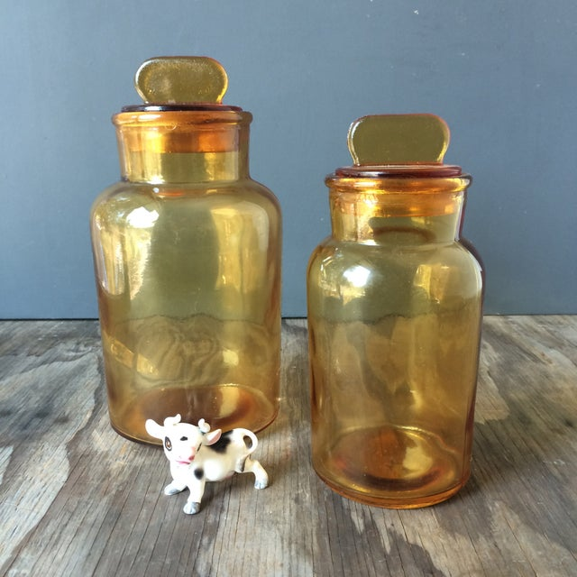 Image of Vintage Amber Glass Storage Jars - A Pair