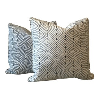 Kravet Blue & Cream Geometric Print Pillows - A Pair