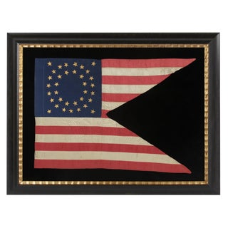 35 STAR SILK CAVALRY GUIDON WITH GILT-PAINTED STARS, IN AN EXCEPTIONAL STATE OF PRESERVATION, CIVIL WAR PERIOD, 1863-65