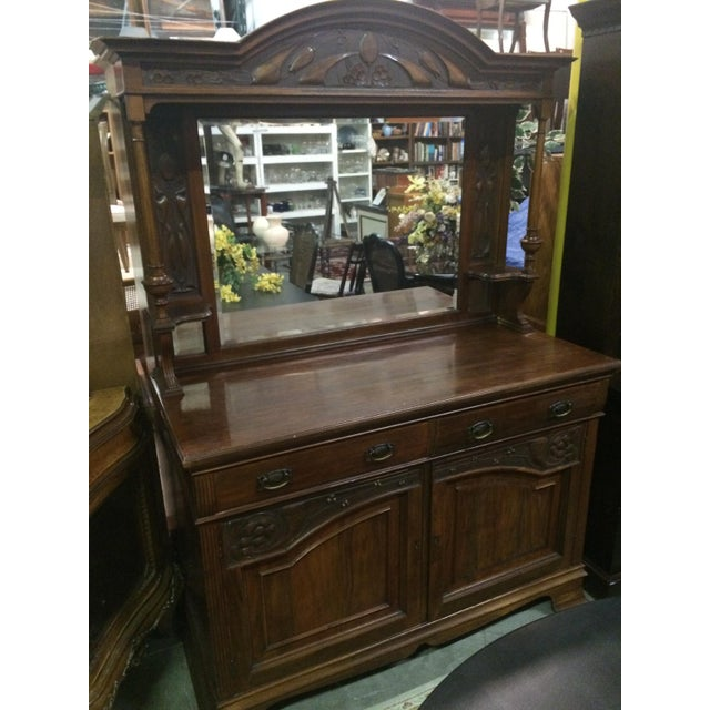 Antique Hand-Carved Buffet & Mirror - Image 9 of 10