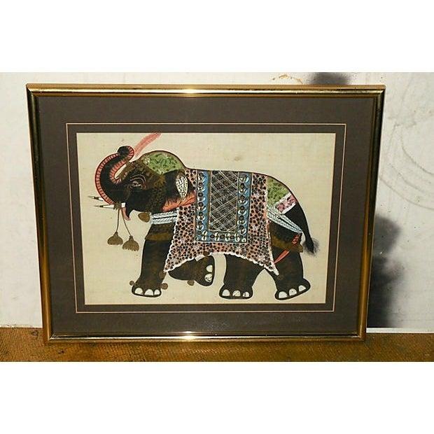Indian Elephant Painting on Silk - Image 2 of 7