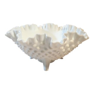 Fenton Milk Glass Hobnail Crimped 3 Toe Bowl