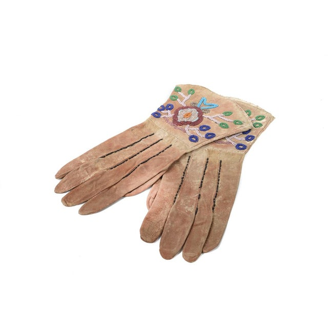 Native American Antique Leather & Beads Gloves - Image 7 of 7