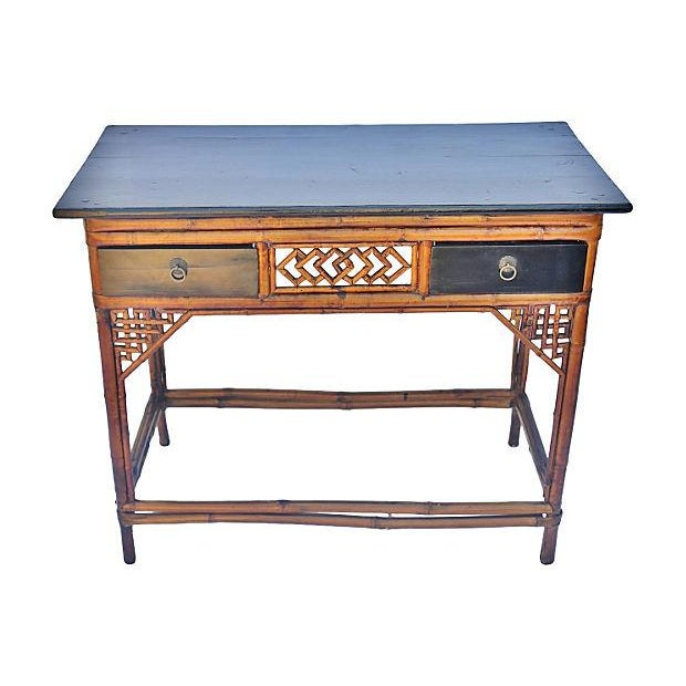 Vintage Bamboo and Wood Desk - Image 2 of 3