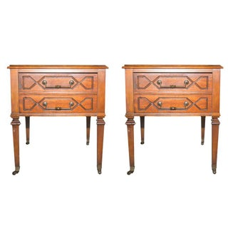 Vintage Marble Top Side Tables - A Pair