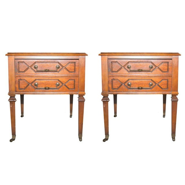 Image of Vintage Marble Top Side Tables - A Pair