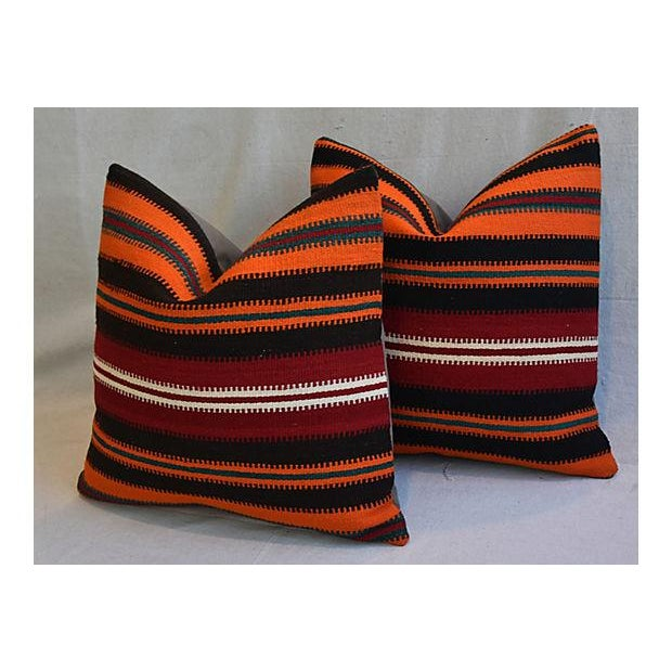 """20"""" Custom Tailored Anatolian Turkish Kilim Wool Feather/Down Pillows - a Pair - Image 6 of 11"""