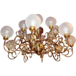 Brass Curlicue & Globe Chandelier
