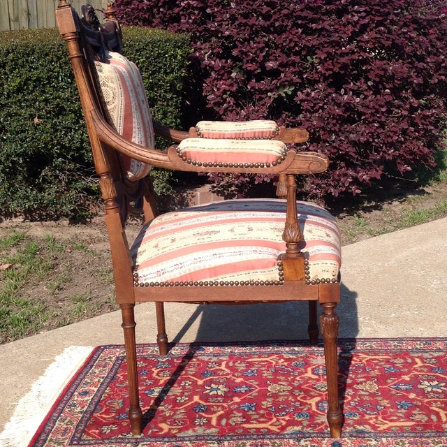 Image of 19th Century French Carved Mahogany Dining Arm Chairs - a Pair