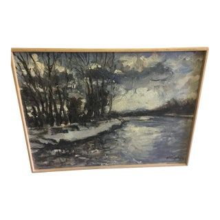 French Impressionistic Snowscape Painting