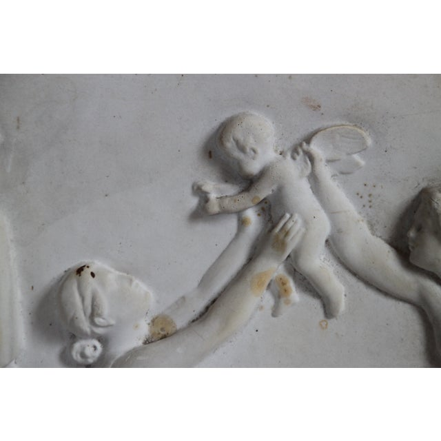 Image of Neoclassical Plaster Relief Cherub Wall Art