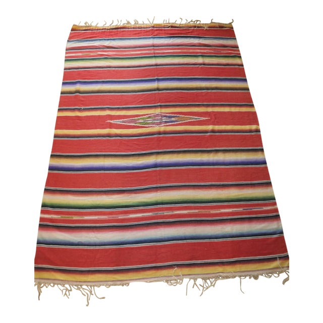 Vintage Mexican Saltillo Serape Blanket Throw - Image 1 of 8