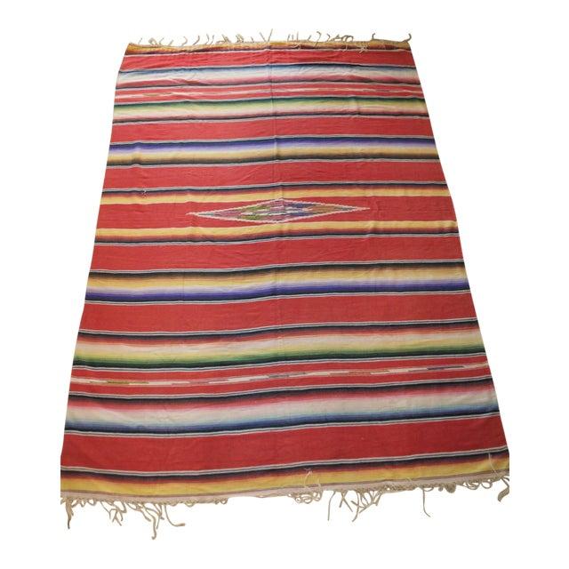 Image of Vintage Mexican Saltillo Serape Blanket Throw