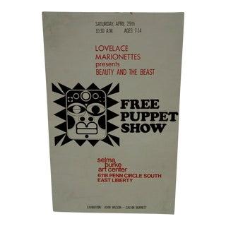 Vintage Selma Burke Puppet Show Poster