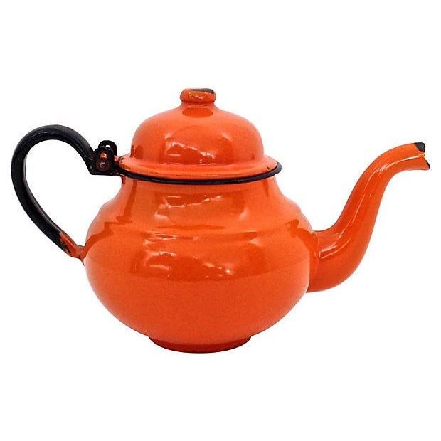 Image of Polish Orange Enamel Teapot