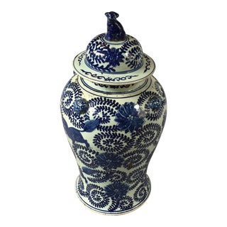 Blue and White Ginger Jar With Foo Dog Lid