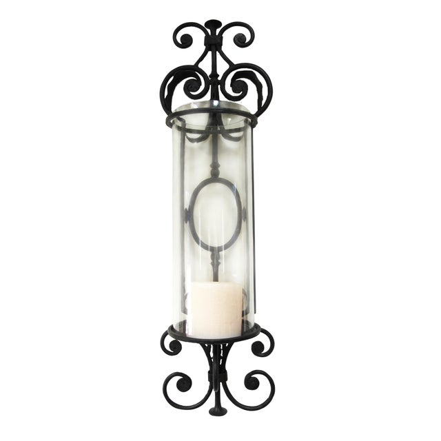 Large Candle Wall Sconces Wrought Iron : Large Wrought Iron Candle Sconces - Pair Chairish