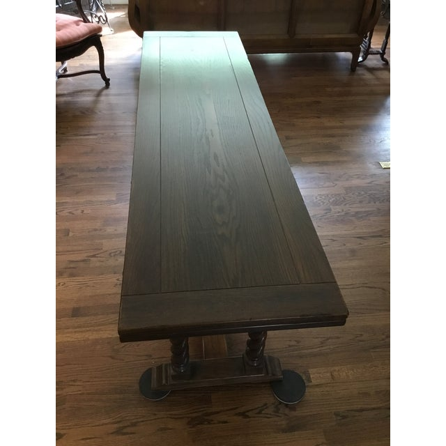 Ethan Allen Jacobean Barley Twist Expanding Banquet Dining Room Trestle Table - Image 6 of 9