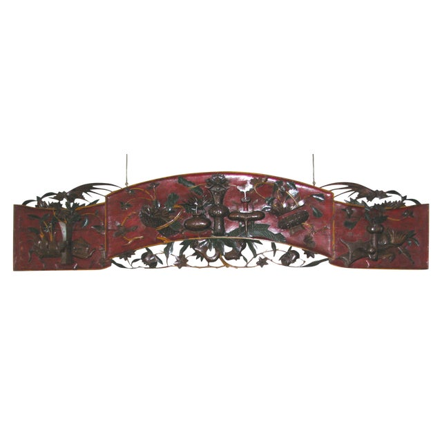 Antique Chinese Ornate Hand-Carved Headboard - Image 1 of 10