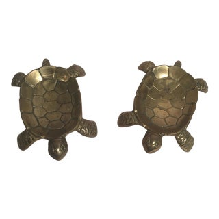 Vintage Brass Turtle Trinket Dishes - A Pair