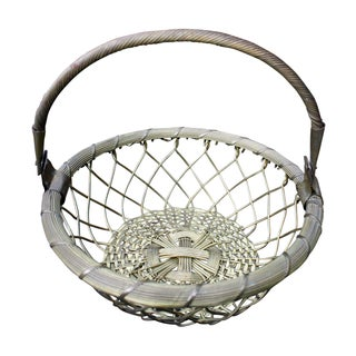 Vintage Brass Woven Basket with Handle