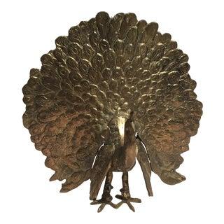 Mid-Century Solid Brass Peacock