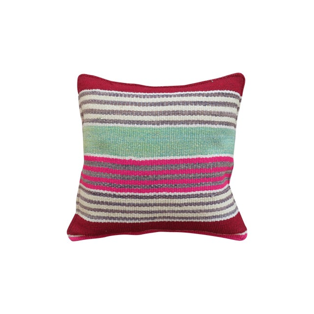 Pink & Green Peruvian Frazada Pillow - Image 1 of 3