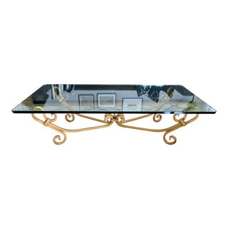 Vintage Wrought Iron Gold Beveled Glass Top Coffee Table