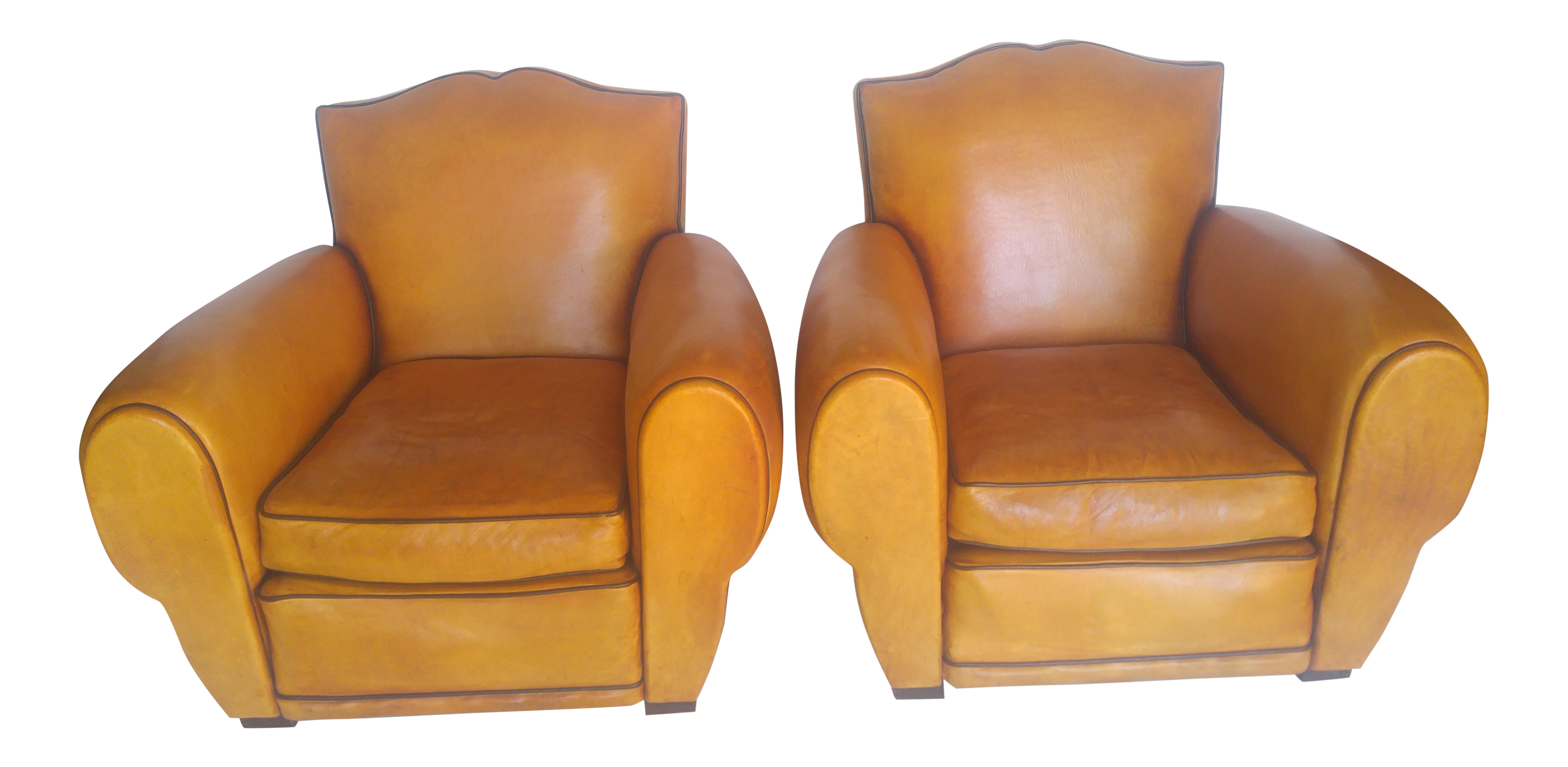 1930s french art deco leather club chairs a pair - Leather Club Chairs