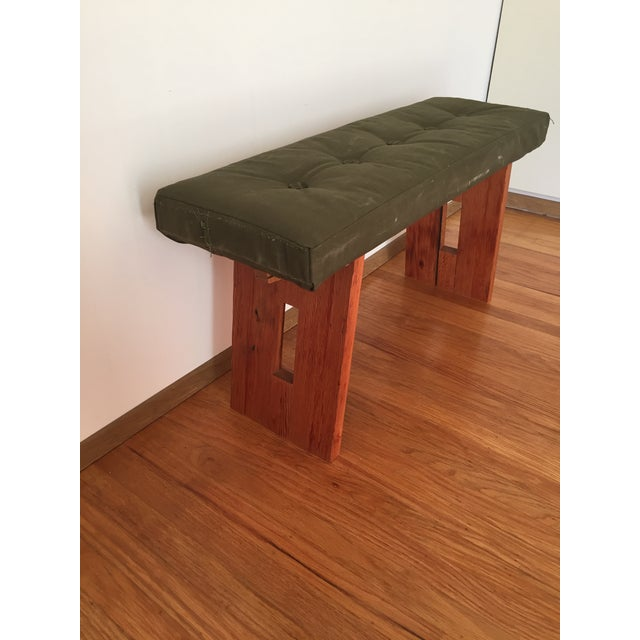 Image of Bench with Vintage Army Upholstery