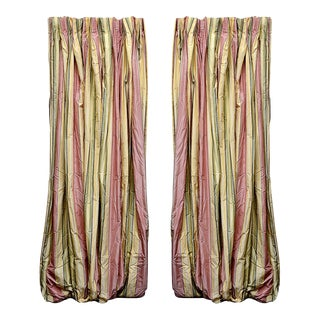 Rose, Pale Yellow & Greens Silk Draperies - A Pair