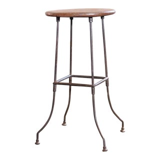 Vintage Industrial Wood and Bent Steel Leg Backless Bar Stool
