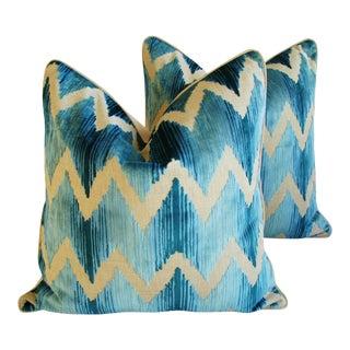 """24"""" Boho Chic Chevron Flamestitch Cut Aqua Velvet Feather/Down Pillows - Pair"""