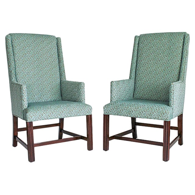 Image of White Furniture Wingback Chairs - A Pair