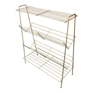 Mid-Century Brass / Gold Wire Book Shelf
