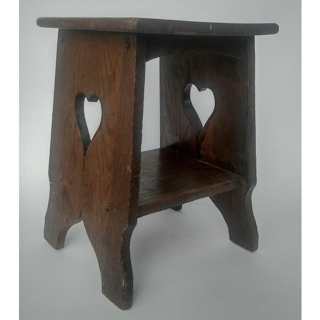 Arts & Crafts Mission Oak Side Table with Heart Cut Outs - Image 2 of 6