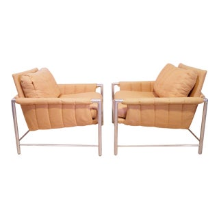 Vintage Milo Baughman Style Brushed Aluminum Frame Chairs- A Pair