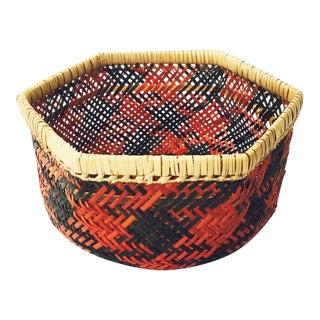 Vintage Southwestern Hexagonal Woven Basket