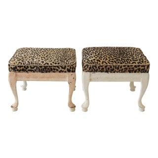 Leopard Print Footstools - a Pair